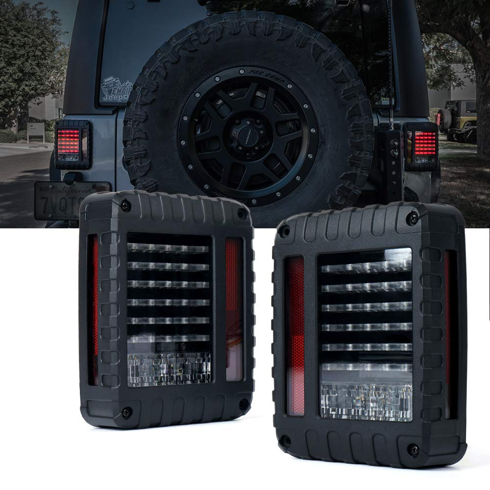 Xprite Defender Series Smoke Lens Red LED Tail Light Assembly w/Brake, Turn Signal & Back Up For Jeep Wrangler JK JKU 2007-2018 TL-JEEP-JK-SMK-G2