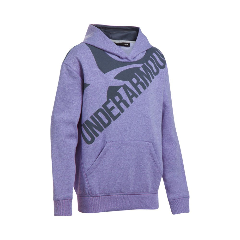 Under Armour Girls' Threadborne Novelty Fleece Hoodie,Constellation Purple /Apollo Gray, Youth X-Small
