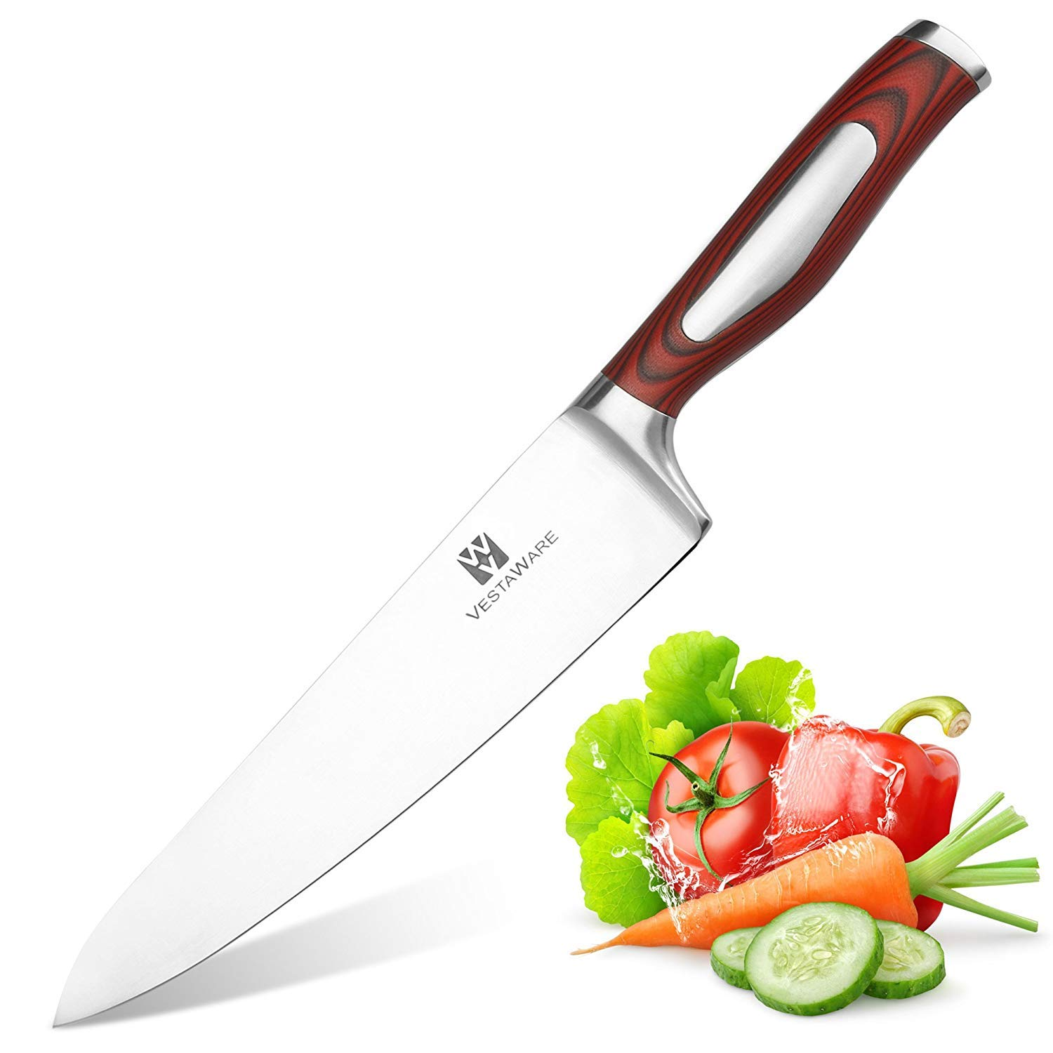 VestaWare Chef Knife 8 Inch Professional German High Carbon Stainless Steel Kitchen Knives Razor Sharp Blade & Ergonomic Handle with Gift Box