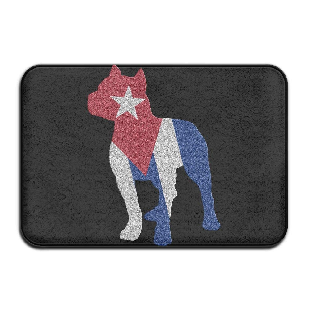 Patriotic Pitbull Cuba Flag Indoor Outdoor Entrance Rug Non Slip BathMats Doormat Rugs for Home
