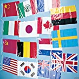 Flags Of All Nations Line-Of-Flags. This line of flags contains the flags of 15 nations! They're a perfect decoration for teachers to hang in classrooms! Help students learn geography, foreign customs or languages! Travel agencies can cut them apart ...