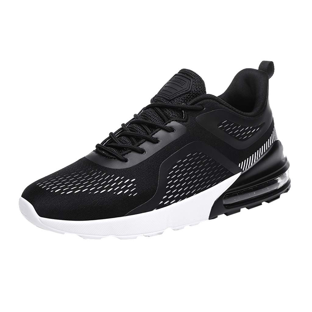 Street Sneakers Men Work Sneakers ✔ Men's Woven Breathable Cushion Sneakers Outdoor Ultra Light Casual Running Shoes Black
