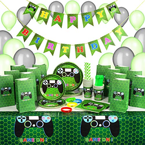 Kidohub Gaming Party Supplies For Boys - Gamer Birthday Party Supplies - Video Game Party Supplies - 185 Pieces Bundle Pack Serves 16 Guests (Best Party Games Of All Time)