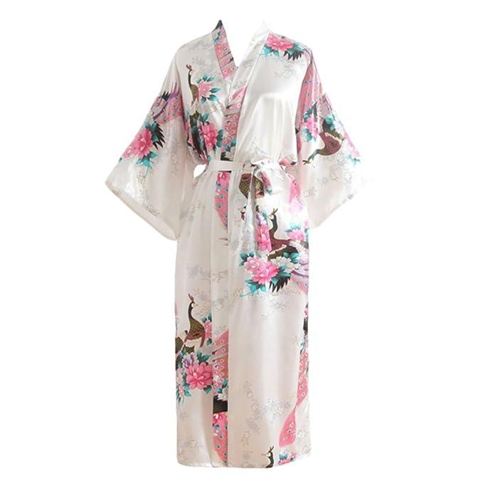 YOLIA Mujeres Longitud de la Rodilla, Camisones, Batas Novedad Camisones Kimono Loungewear Batas Blancas: Amazon.es: Ropa y accesorios