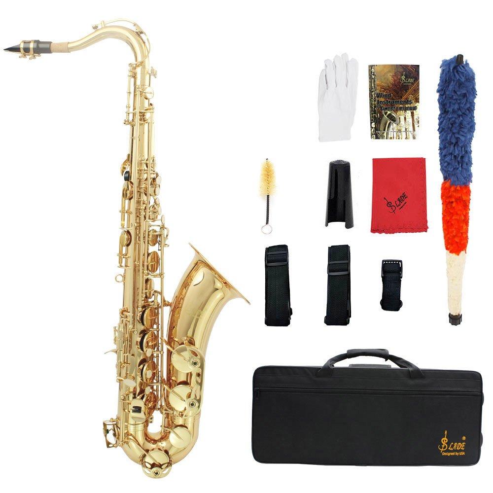 LADE セット Bb テナーサックス サックス ブラス製 吹奏楽 練習用 本番にも 使い勝手はあなた次第!彫刻入り テナーサキソフォン B019XAM3RA