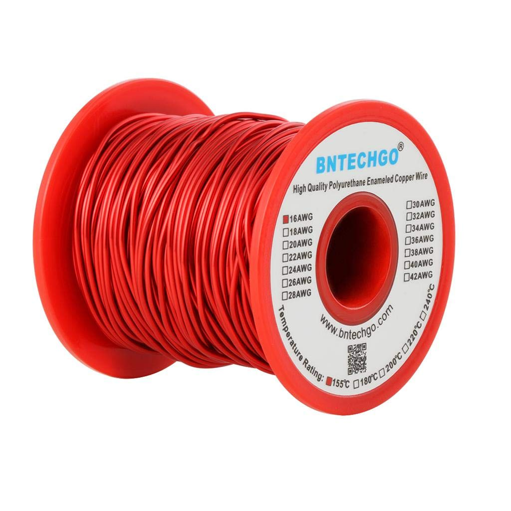 BNTECHGO 16 AWG Magnet Wire - Enameled Copper Wire - Enameled Magnet Winding Wire - 1.0 lb - 0.0492Diameter 1 Spool Coil Red Temperature Rating 155℃ Widely Used for Transformers Inductors bntechgo.com