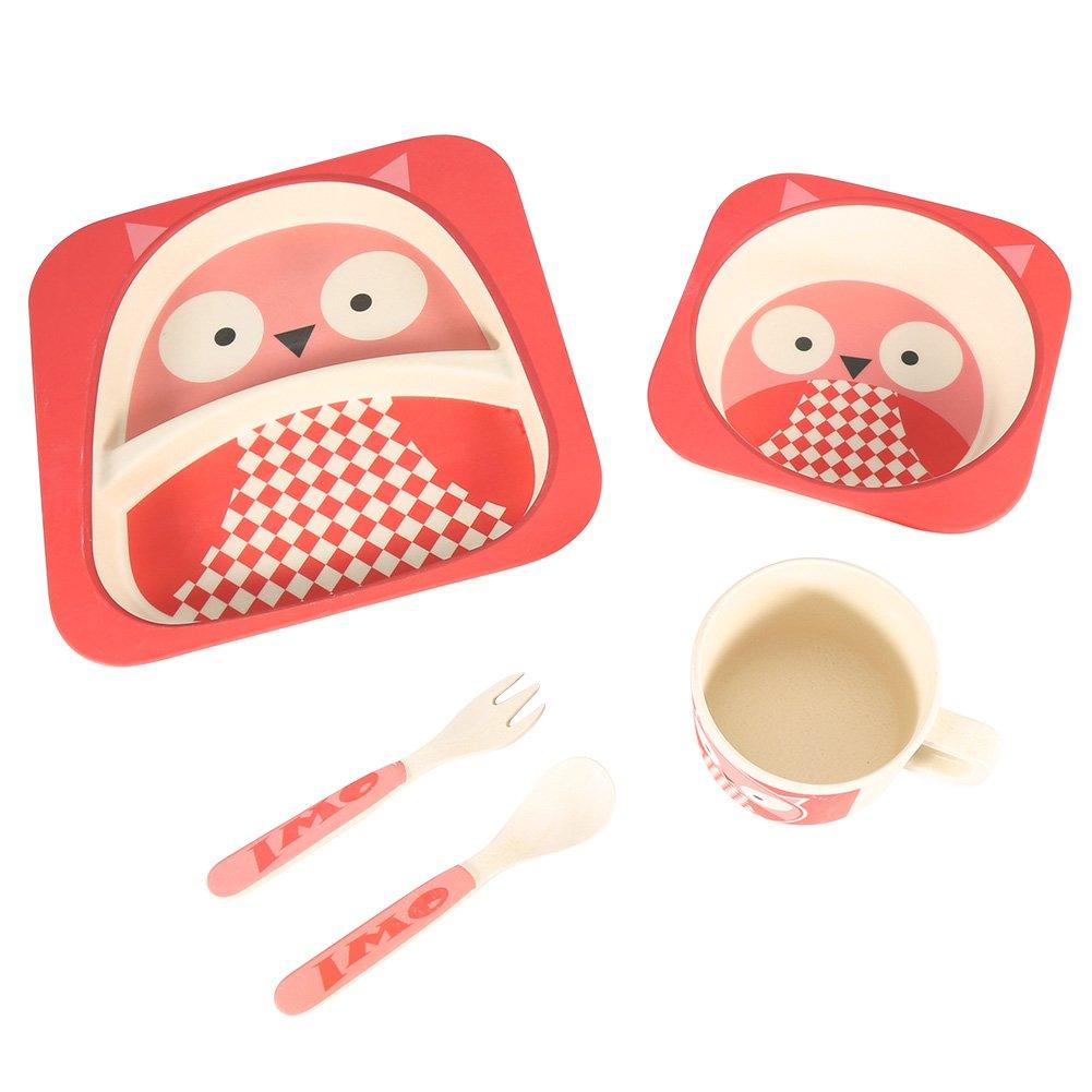 学習テーブルウェアセットファイバーベビープレートボウルカップスプーンフォーク5点竹Baby Foodセーフ子供Feedingテーブルウェア Fdit4zfgxad8k6-01  フクロウ B07BJ1Z9P9