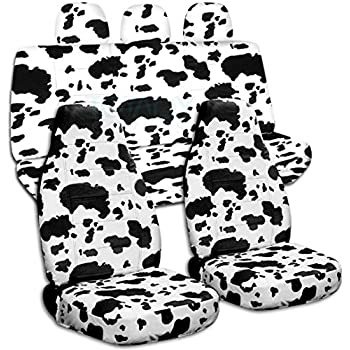 Animal Print Car Seat Covers W 3 Rear Headrest Cow Big Pattern
