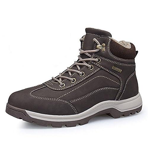 Botas de Nieve Hombre Impermeable Zapatillas Senderismo Calientes Fur Antideslizante Sneakers Negro Marrón Khaki