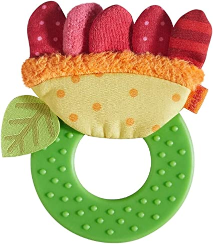Ages 6 Months Flexible Plastic Teether with 3 Rattling Rings HABA Clutching Toy Roundabout