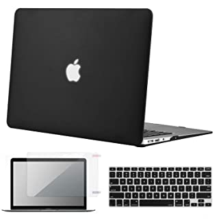 "Lacdo MacBook Air 13 Inch Case, Laptop Hard Case Shell Cover with Screen Protector and Keyboard Skin Compatible MacBook Air 13.3"" (Model A1466 & A1369) Notebook Protective, Black"