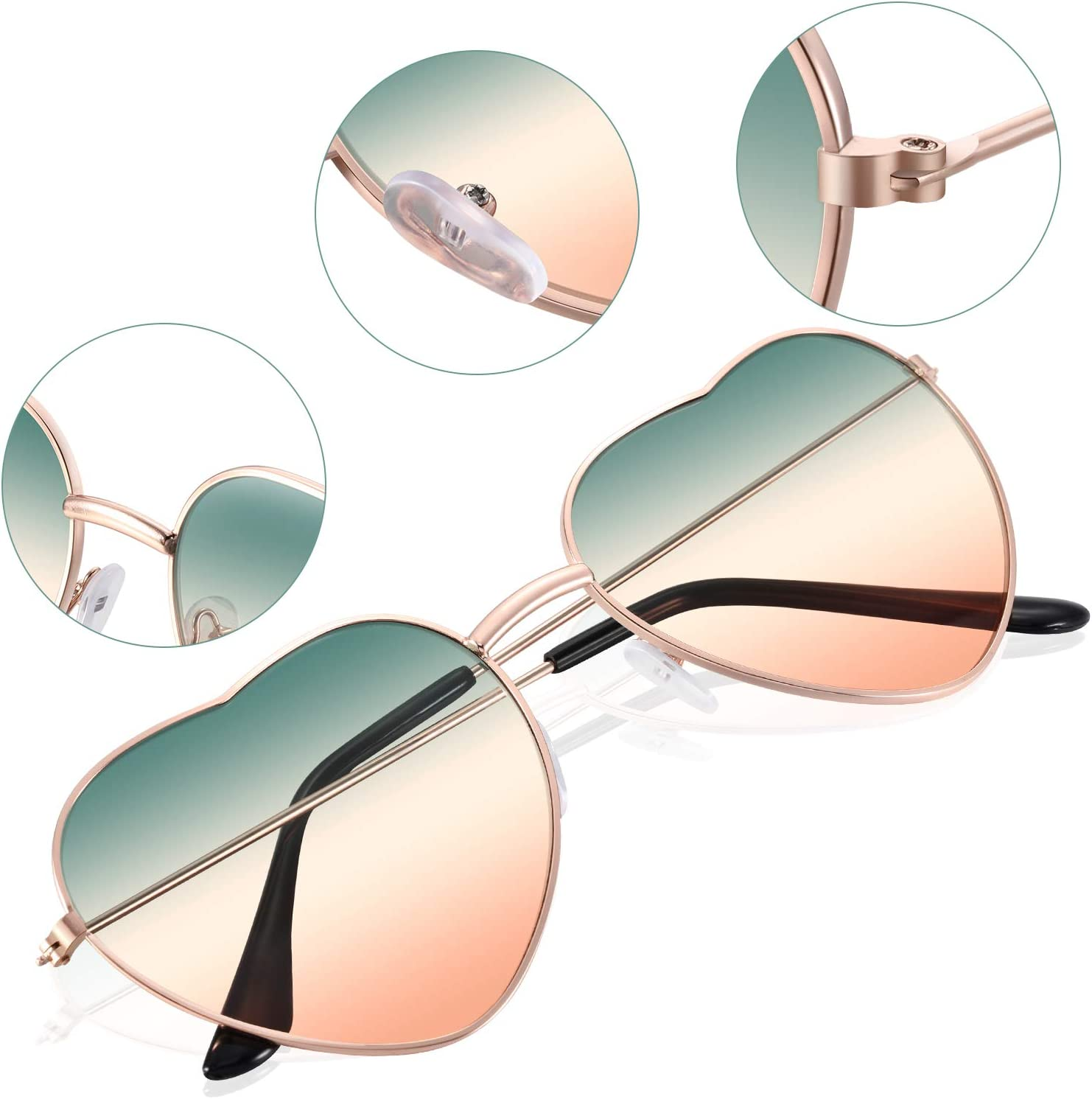 Eyewear 2 Pairs Hippy Specs Glasses Heart Shaped Sunglasses For Hippie Fancy Dress Accessory Gradient Blue Lens Rose Gold Frame Clothing Shoes Jewelry Samel Com Br