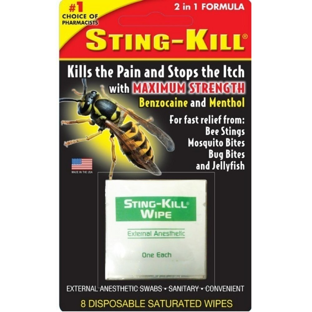 Sting-Kill Disposable Wipes 8 Each (Pack of 6) by Sting-kill