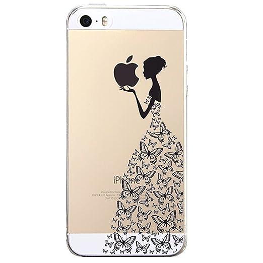 21 opinioni per iPhone 5 5S / SE Cover , YIGA Negro Ragazza Farfalla Trasparente Silicone