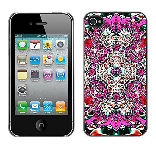 ( Abstract Pink Floral Tile Art ) APPLE iPhone 4 / 4S Hard Printing Protective Cover Protector Sleeve Shell Case Cover
