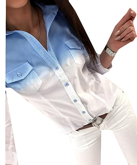 265739f7f8c WANSHIYISHE Womens Autumn Long Sleeve Gradient Pockets Button Up Shirt Top  Blue US XS