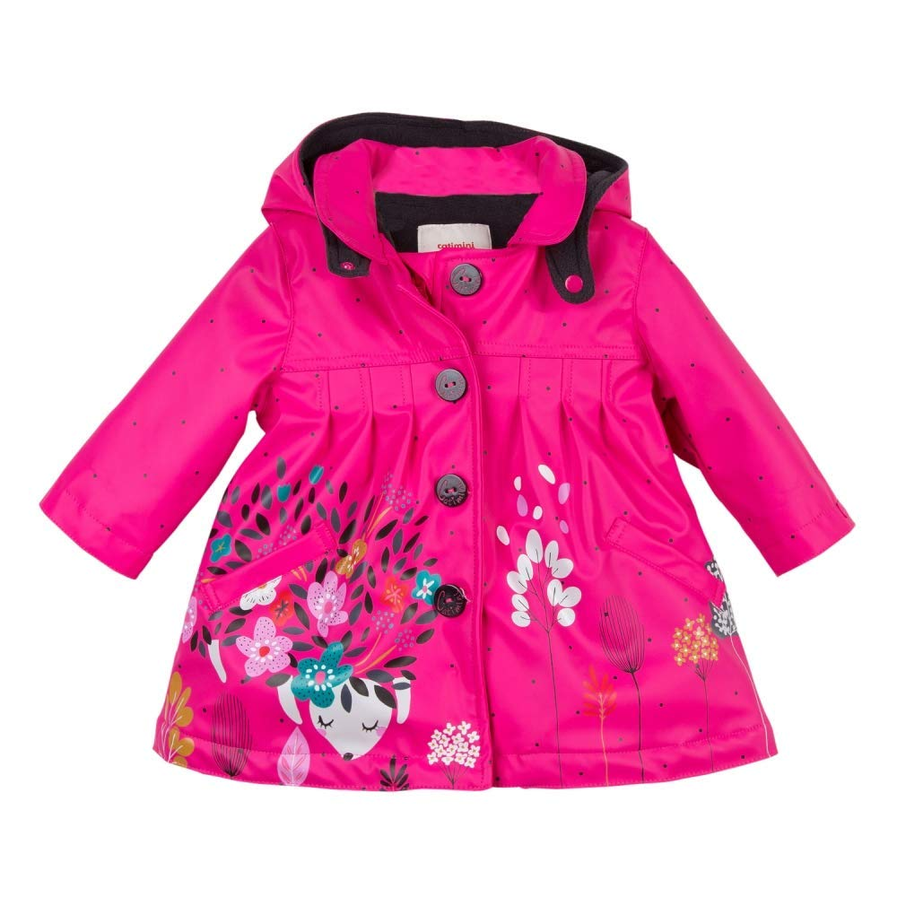 Pink Rubber Coated Raincoat with Floral Pattern by Catimini