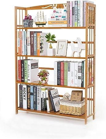 KKLTDI Bambú Almacenamiento Estanteria De Libros, Moderno 4 Capas Repisa Escalera Ajustables Multi-función Estantería Organizador para Inicio Oficina Estante De La Librería-e 127x90x25cm: Amazon.es: Hogar