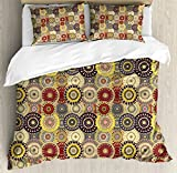 Ambesonne Hippie Duvet Cover Set Queen Size, Vintage Pattern with Vivid Colorful Painted Circles and Dots Ethnic Seventies Style, Decorative 3 Piece Bedding Set with 2 Pillow Shams, Multicolor