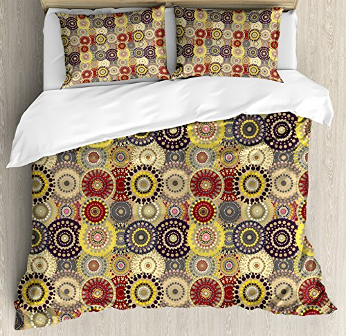 Kitchen Set Pattern - Ambesonne Hippie Duvet Cover Set Queen Size, Vintage Pattern with Vivid Colorful Painted Circles and Dots Ethnic Seventies Style, Decorative 3 Piece Bedding Set with 2 Pillow Shams, Cream Maroon