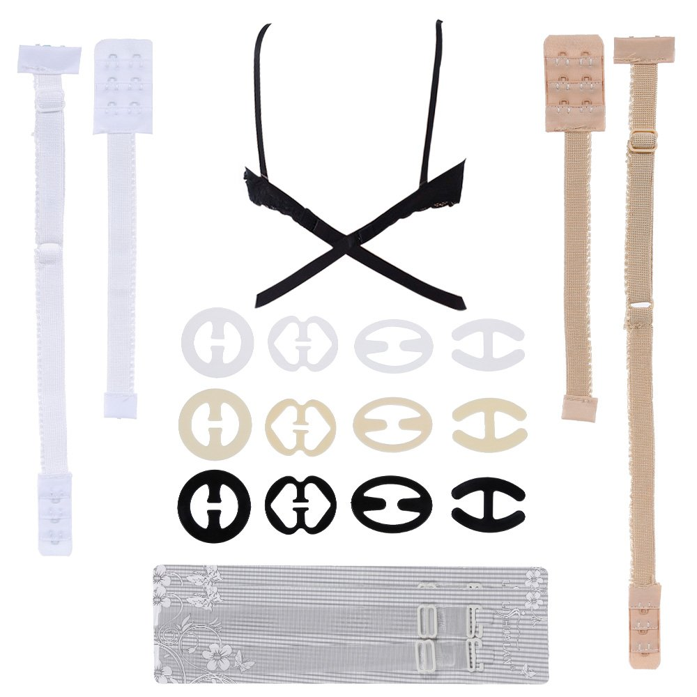 rovtop 12Pcs Clips and 3Pairs of Straps for Extension of Lower Back Backless Bra, 2Pairs of Bra Straps Transparent, Kit Complete Accessories for Summer Fashion, One Size