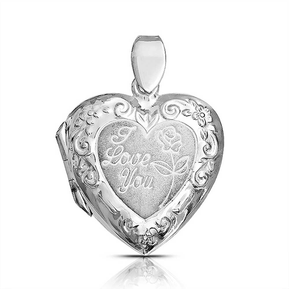 Bling Jewelry I Love You Engraved Rose Heart Locket Sterling Silver Pendant PMR-L10242SB