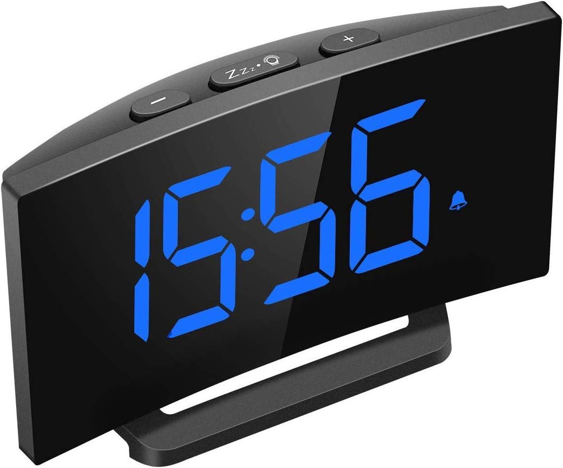 Mpow Despertadores Digitales, Reloj Despertador Digital, Pantalla Curva LED de 5'', 6 Niveles de Brillos Ajustables, 3 Sonidos de Alarma, 2 Volúmenes, Puerto USB,Snooze,12/24 Horas(sin Adaptador)