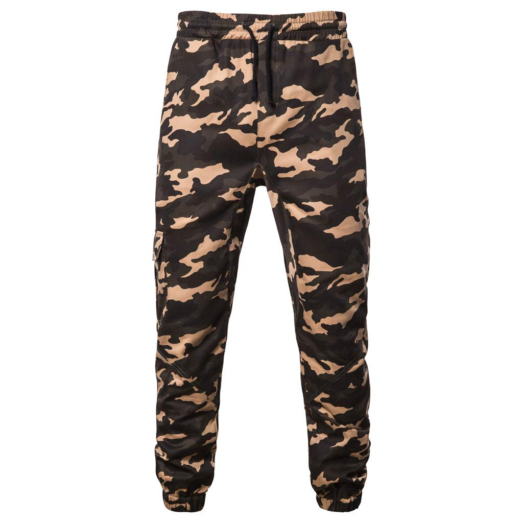 IEasⓄn Men's Camouflage Longs Cargo Pants,Man Fashion Casual Sport Tooling Pants