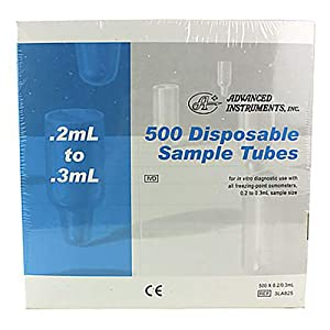 "Midland Scientific 3LA825 PK Advanced Instruments Osmometer Sample Tubes, 10.25"" Height, 10"" Width, 5.5"" Length, 0.2 mL (Pack of 500)"