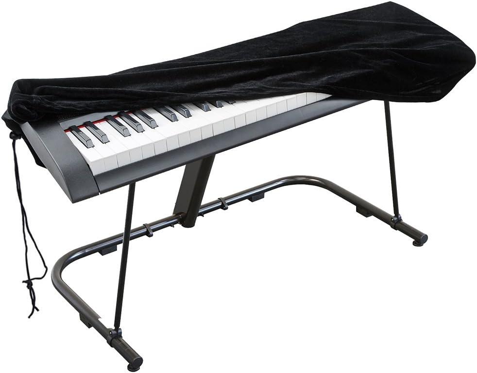 Cubierta para el teclado de piano, cubierta protectora tramo de terciopelo con cordón elástico ajustable para 61 teclas del teclado, piano digital, ...
