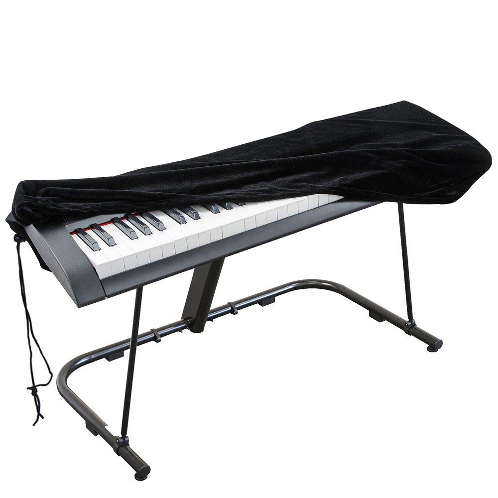 Housse de piano, Kaifire Couverture pour clavier de piano, Housse de protection en velours extensible avec cordon élastique réglable et une serrure pour 61 touches Clavier électronique, Piano numérique, Yamaha, Casio, Roland, Consoles et plus (Noir) PC-61