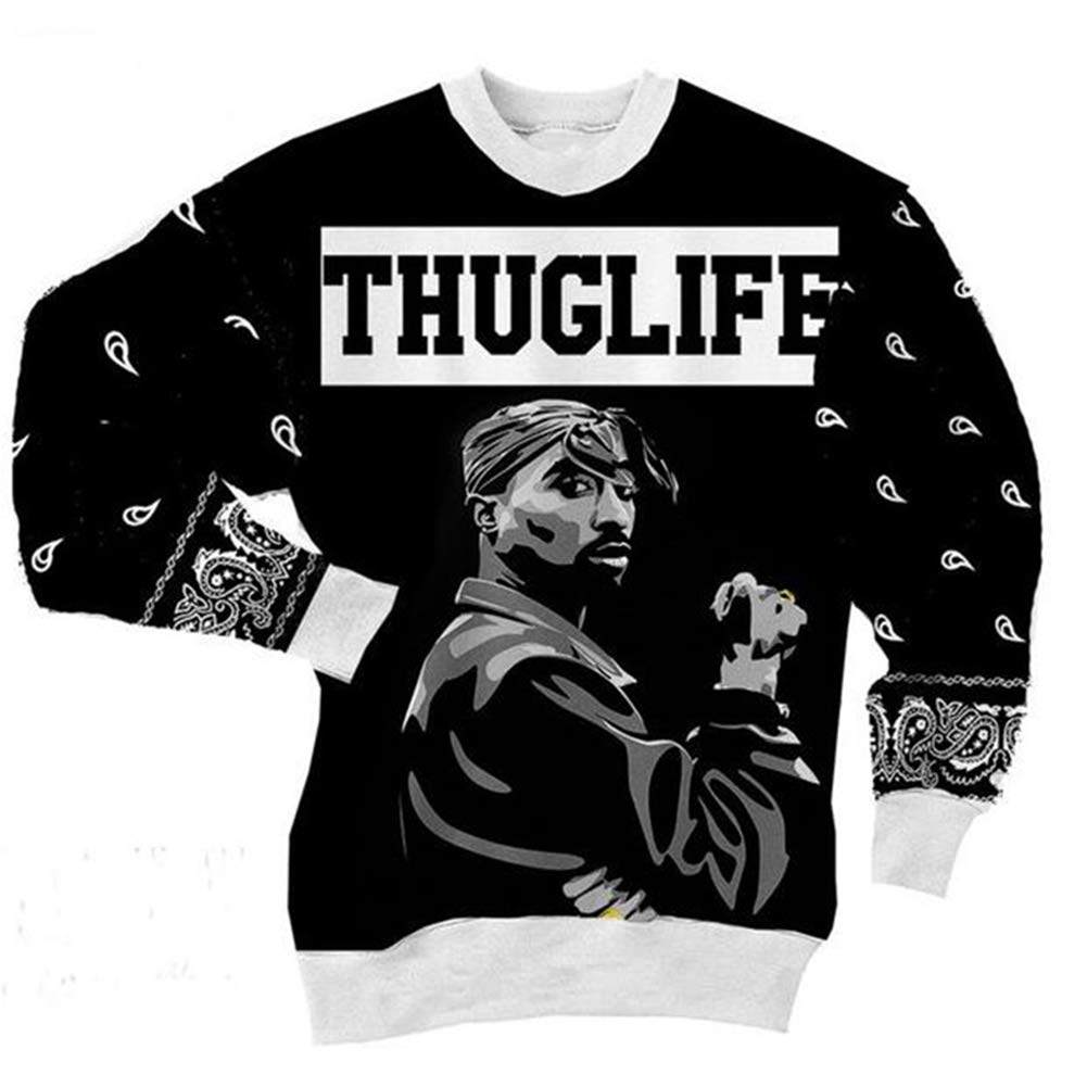 Kleidung Tupac Sweatshirt Hip Hop Jersey Jumper 3D Print 2Pac Pullover Men and Damens Couple Sweater,5XL