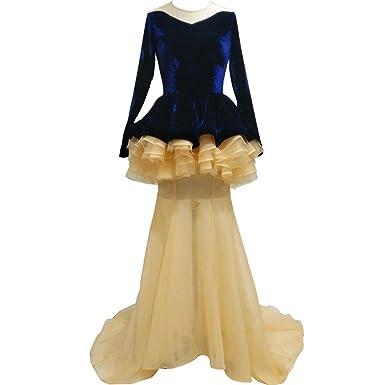 Amazoncom I Bay U Foreign Trade Blue Velvet Mermaid Evening Gown