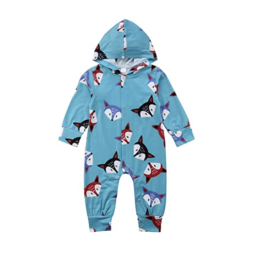 f193cee78 Amazon.com: Newborn Baby Boys Girls Fox Print Hooded Romper Long Sleeve  Single Breasted Jumpsuit Clothes Outfits: Clothing