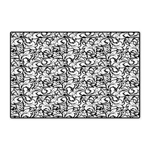 Floral Door Mats Area Rug Monochrome Leaves Abstract Design Botanical Arrangement Gardening Inspiration Print Floor mat Bath Mat 20