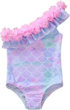 Pink Mermaid Sequins Halter Swimsuit Baby Girl Swimwear One-Piece Lovely Bowknot Bathing Suit Size 12-24Months//TagM