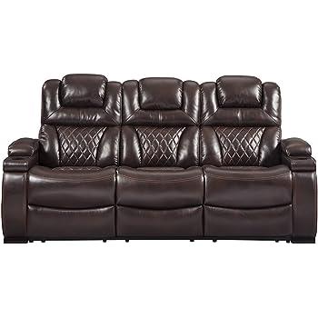 Signature Design By Ashley 7540715 Warnerton Power Reclining Sofa, Chocolate