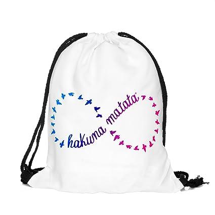 Mochila con diseño de símbolo de infinito, Hakuna Matata y pájaros de Colores