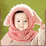 FEITONG(TM) Lovely Winter Baby Kids Girls Boys Warm Woolen Coif Hood Scarf Caps Hats, Pink, 6 Months to 36 Months