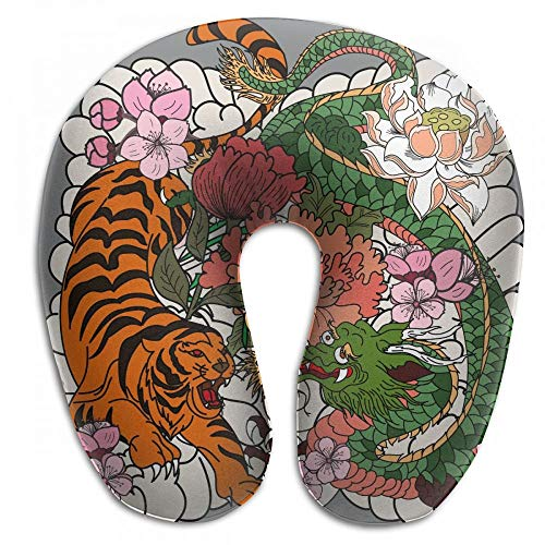 Yohafke Tiger and Dragon Fighting Tattoo Neck Head Support Travel Rest U Shaped Pillow for Airplane Train Car Bus Office ()