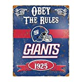 Party Animal NFL Embossed Metal Vintage New York Giants Sign