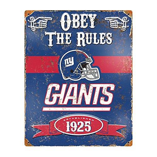 Party Animal NFL Embossed Metal Vintage New York Giants Sign