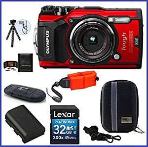 Olympus Stylus TOUGH TG-5 Digital Camera (Red) PRO Bundle includes; 32GB SDHC Memory Card + Olympus Floating Wrist Strap (Red) + Extra Battery + Flexible Tripod and more...