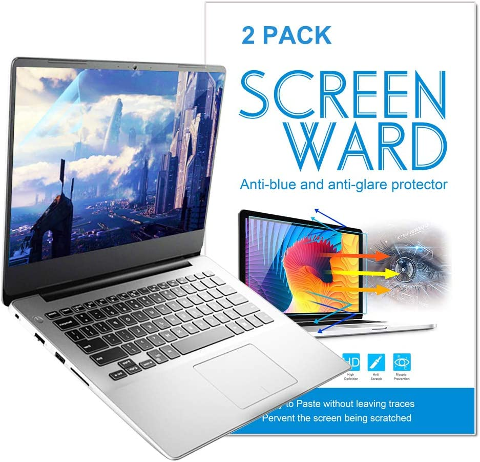 2-Pack 15.6 Inch Laptop Screen Protector -Blue Light and Anti Glare Filter, Reduce Eye Fatigue Anti Scratch Proof Dust-Proof, Fingerprint Resistant, Eye Protection Blue Light Blocking Eye Protection Blue Light Blocking Anti Glare Screen Protector for 15.6