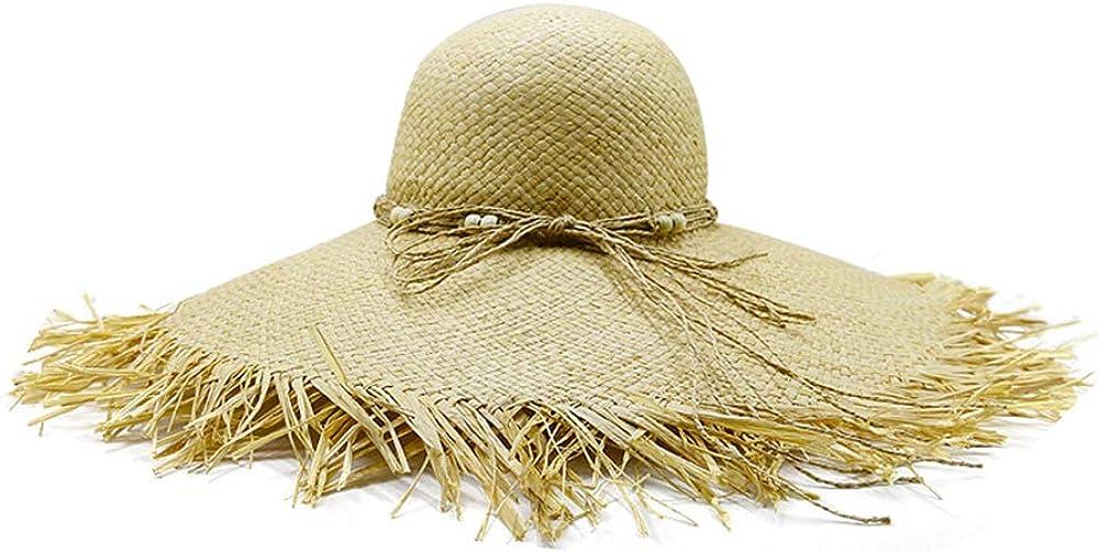 MJHZQ 2019 Women Summer Hat Beach Straw Hat Panama Ladies Cap Fashionable Handmade Casual Flat Brim Bowknot
