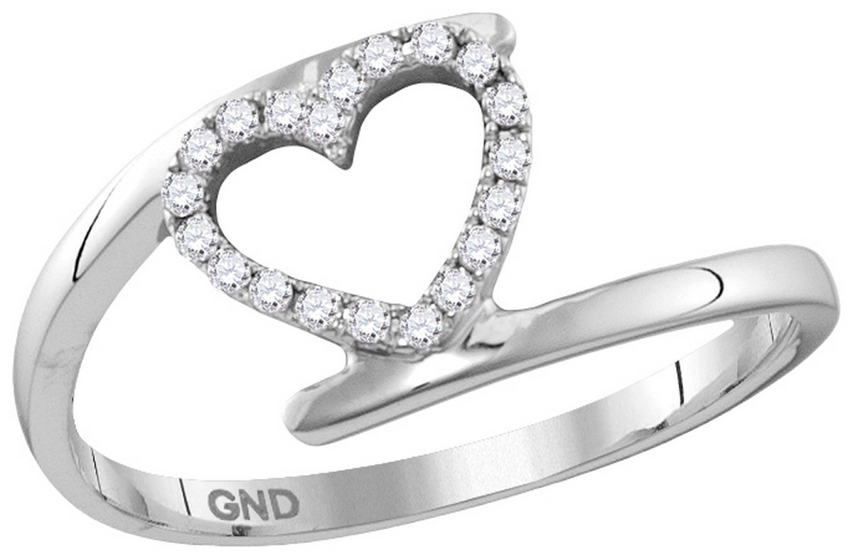 10kt White Gold Womens Round Diamond Held Heart Love Ring 1/8 Cttw (I2-I3 clarity; J-K color)