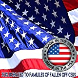American Flag 4 x 6 + Free Affiche. Made in U.S.A Duralast Fabric. Embroidered Stars, Sewn Stripes, Brass Grommets. 30% Proceeds Donated to Families Fallen Officers