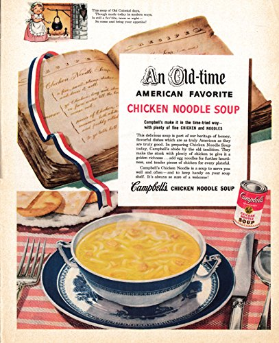 Campbell Art Deco Print - 1952 Campbell's Chicken Noodle Soup-American Favorite -Original 13.5 * 10.5 Magazine Ad