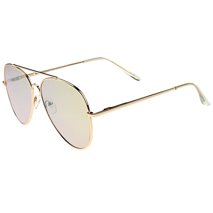 375d23e95f909 Amazon.com  Large Metal Rose Gold Frame Pink Mirror Flat Lens Aviator  Sunglasses 60mm (Gold Pink Mirror)  Clothing