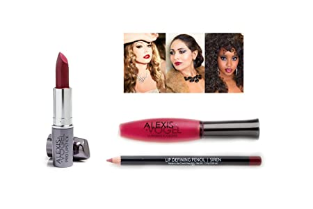 Amazon.com : Long-Lasting Red Lip Makeup Kit - Alexis Vogel Kiss ...